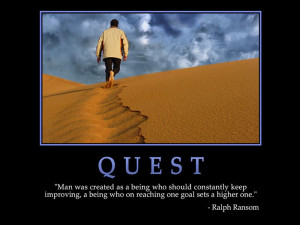 Quest Wallpaper with Quote by Ralph Ransom: Keep Improving