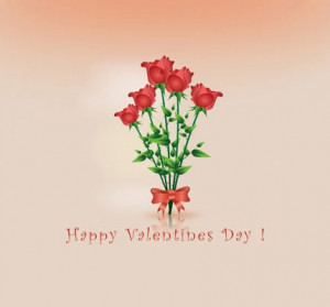 Valentine's Day Wishing Quotes with Beautiful Red Flowers