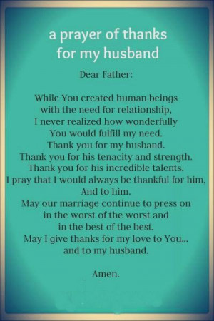 Prayer of thanks for my husband