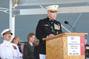 Gen. Amos speaks at ship christening