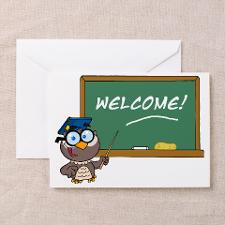 chalkboard and owl back to school Greeting Card for