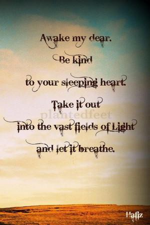 Photo art greeting card - Hafiz quote 'Awake my dear...'