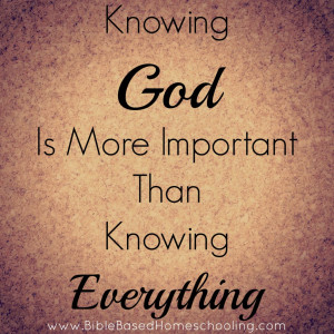 God First We must know god first and we