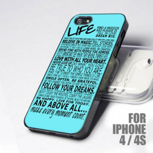 New Baby Blue Inspiring Life Quotes design for iPhone 4 or 4s Case
