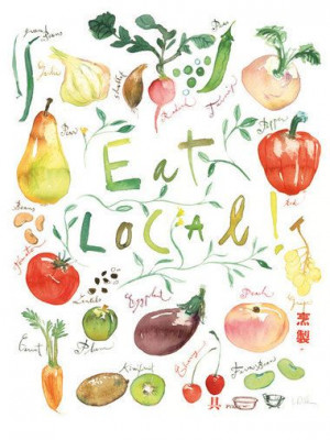 Eat local poster Kitchen art print Food illustration Watercolor fruit ...