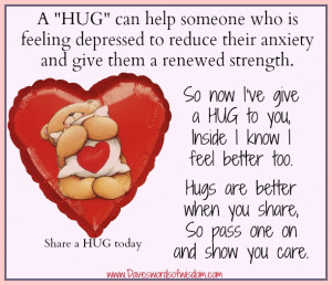 HUG can help someone who is feeling depressed