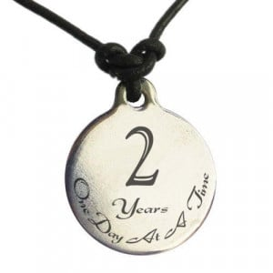 Year Sobriety Anniversary Medallion Leather Necklace for Sober ...