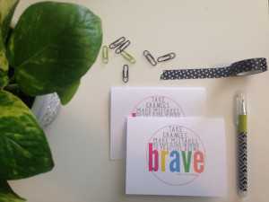 NOTECARDS Set of 4 - BRAVE Mary Tyler Moore Quote