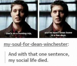 dean winchester, hunter, jensen ackles, quotes, season 1, social life ...