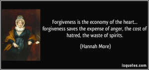 ... of anger, the cost of hatred, the waste of spirits. - Hannah More