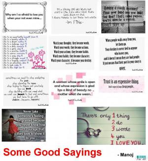 Some Good Sayings