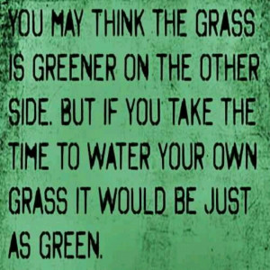 You may think the grass is greener on the other side. But if you take ...