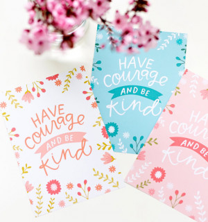Have Courage and Be Kind - Floral Cinderella Quote - Disney Princess ...