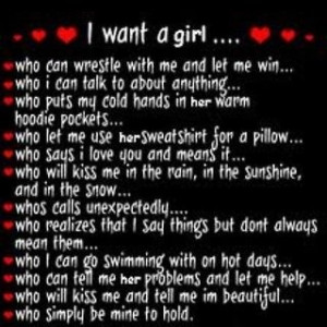 dont know if thats what i want so much as what i want someone to ...
