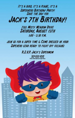 Super Hero Kid Birthday Invitations