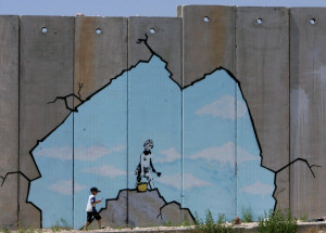 Another from his trip to Palestine, Banksy painted this hope for the ...