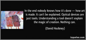 ... tools. Understanding a tool doesn't explain the magic of creation