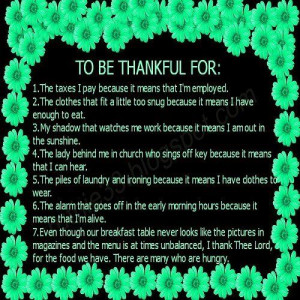 To Be Thankful For