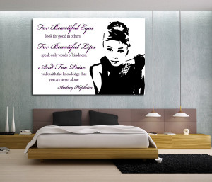 AUDREY HEPBURN QUOTES PINK WALL ART