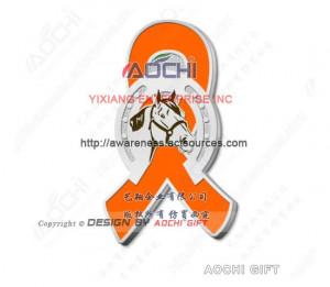 ... Leukemia Awareness Horseshoe with Horse Head Orange Ribbon Lapel Pins