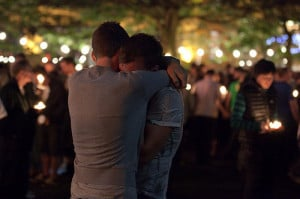boy, boys, couple, cute, gay, guy, hug, lights, love, night, passion ...