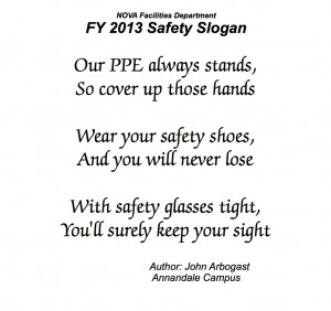 FY2013 Facilities Safety Slogan Winner Announced