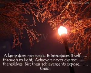 Achievement Quote: A Lamp Does Not Speak