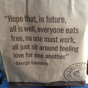 is decorating their bags with quotes from people like George Saunders ...
