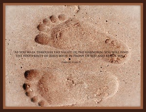 Footprints With Charles Stanley Quote Photograph