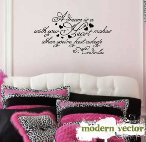 Details about Cinderella Quote Girls Nursery Vinyl Wall Quote Decal