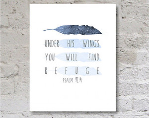 ... Bible Verse Art Poster Printable Blue Feather Nursery Wall Art INSTANT