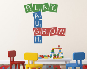 Vinyl Wall Quote Kids Play Room Decal Vinyl Lettering Playroom Decor ...