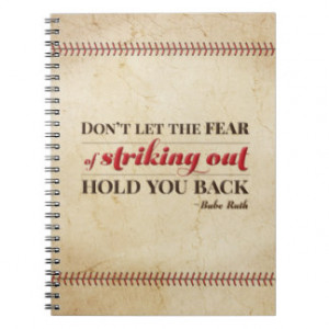 Babe Ruth Baseball Quote Notebook