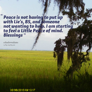 Quotes Picture: peace is not having to put up with lie's, bs, and ...