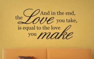 Love Wall Quote - The Beatles Abbey Road Vinyl Decal