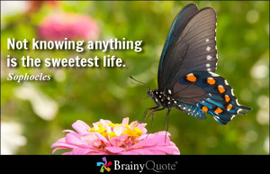 Not knowing anything is the sweetest life. - Sophocles