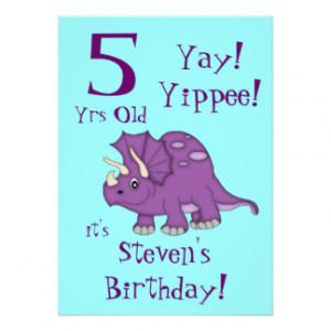 Birthday Party-Cute Purple Dinosaur/Cake+Party Custom Invitation