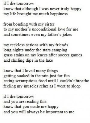If I die tomorrow..
