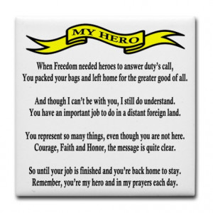 Proud Army Mom Hero Poem Tile Coaster