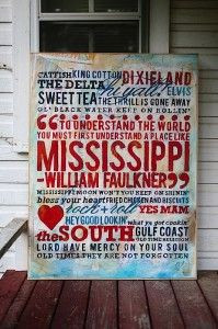Hi Y'all! Made in the South - Mississippi painting #Faulkner #art