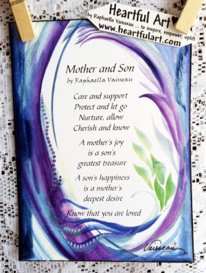 MOTHER and SON Original Poem Inspirational Quote Family Child Saying ...