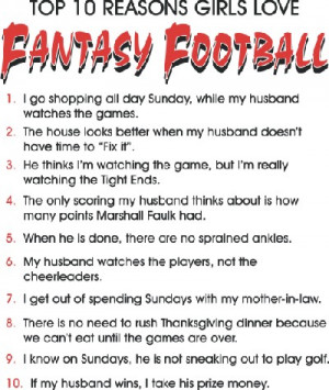 Design #4 Top 10 Reasons I Love Fantasy Football - Girls **CLOSEOUT***