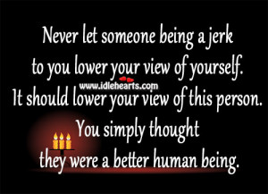 Never let someone being a jerk to you lower your view of yourself. It ...
