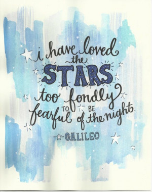 Galileo Stars Hand Lettered Quote Original by TheScribblist, $32.00 ...