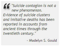 ... suicide contagion is not a new phenomenon evidence of suicide clusters