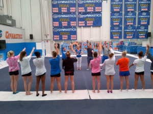 Photo: Florida's gymnastics team gets pumped for practice during its ...