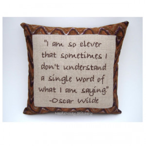 Cross Stitch Pillow Quote, Oscar Wilde Quote, Brown Pillow