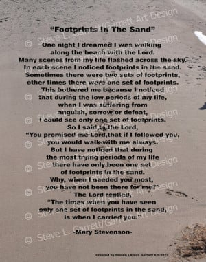 Footprints In The Sand / 11x14 Print / Inspirational Quote / Poem ...
