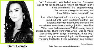 ... some great quotes from celebs on bullying self esteem dating and more