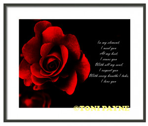 Red Rose Inspirational Love Quote Gallery Wrapped Canvas or Rolled ...